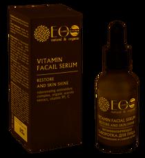 Ecolab Serum witaminizujące i regenerujące, poprawiające blask skóry, kompleks przeciwutleniaczy, ekstrakt organiczny z aceroli, witaminy PP, C 30ml